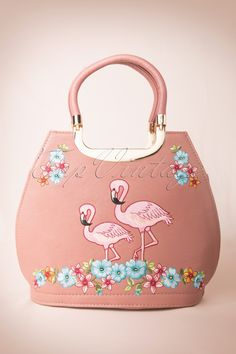 Banned - 50s Pink Flamingo Handbag in Pink