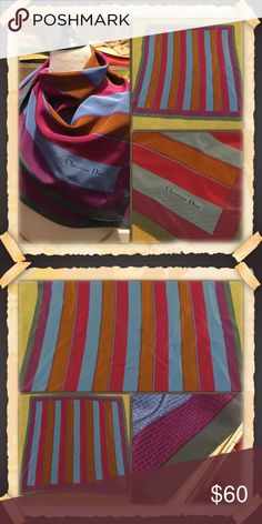 """Cristian Dior Silk Scarf Large, beautiful Christian Dior silk scarf in bright vibrant jewel tones. The pattern on the scarf if the """"Christian Dior"""" lettering all over it. This scarf is in great shape with only one tiny defect. Please see the last picture on the bottom. This still has lots of life left. Perfect for the office. Christian Dior Accessories Scarves & Wraps"""