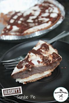 This Hershey Sundae Pie made from scratch in under 30 minutes! You can PIN to make later & store in the freezer when you are ready for your guests!