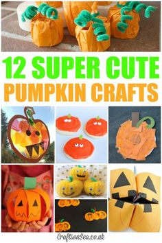 Super Cute Pumpkin Crafts ~ Great ideas for keeping kids entertained at home, or for class parties! ~ from Crafts on Sea