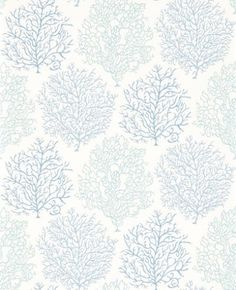 Coral Reef (213390) - Sanderson Wallpapers - A beautiful wallpaper featuring the motif of coral. Shown here in shades of blue on a white background. Other colourways are available. Please request a sample for a true colour match. Paste-the-wall product.
