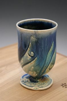 Blue Wine Glass 05 Ceramic pottery Ceramic Wine by WildfireClay