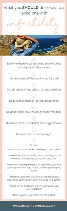 What you SHOULD say or do to a loved one with infertility or struggling to conceive. It can be really HARD when your friend or family member is struggling to fall pregnant, so here's a little guide. See the full post over at moderndaymissus.com!