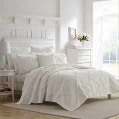 Laura Ashley Maisy White Quilt Set, King Bedding - Bed and Bedcover Ruffle Quilt, White Quilt Bedding, White Bedding Set, Quilt Bedding Sets, White Comforter Bedroom, Bedroom Curtains, King Quilt Sets, Queen Quilt, Queen Bedding