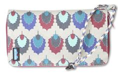 KAVU Clutchable-Holly Leaf-100% Cotton. Bi-fold wallet with zip closure and multiple credit card, cash, and ID slots, an accordion style gusset that maximizes storage space, and a clever wrist strap/detachable bracelet to keep your wallet close to you where it belongs. Why choose between the perfect wallet and the perfect clutch when you can have both in one