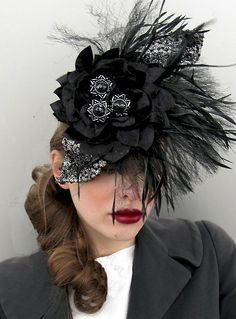 Custom Order-Hats- Midnight Black  Sequined Velvet, Dita Von Teese, Burleque inspired Facinater handmade Millinery by Natalilouise. $300.00, via Etsy.