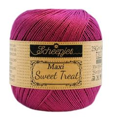 Scheepjes Maxi Sweet Treat laceweight yarn 25 gram ball. Shade 128 Tyrian Purple