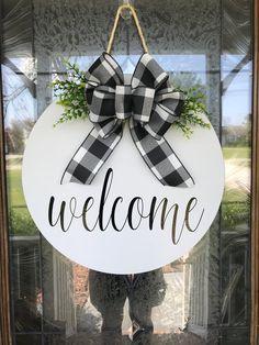 Door Hanger Welcome Sign Front Door Decor Wood Door Sign Welcome Signs Front Door, Front Door Decor, Wreaths For Front Door, Front Doors, Front Porch, Wooden Door Signs, Wooden Door Hangers, Monogram Door Hangers, Wood Doors