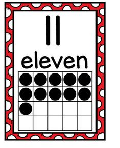Number Posters with Ten Frames and Flash Cards---Bright Red Polka Dots Number Posters, Number Words, School Posters, Learning Numbers, Ten Frames, Classroom Decor, Polka Dots, Language, Bright