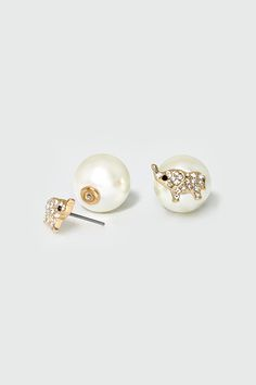 Pearly Elephant Earrings in Gold | Women's Clothes, Casual Dresses, Fashion Earrings & Accessories | Emma Stine Limited