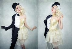 Boom Boom Baby Corset And Shirt/Jacket, Vintage Top Hat