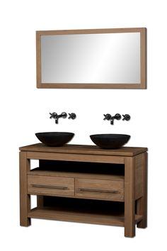Eiken Badmeubel Solid 120cm naturel  met zwart graniet wasbak en spiegel