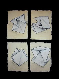 Folded paper drawing, Alice Thatcher 2012 © #origami #drawing