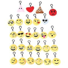 ODN Mini Emoji Porte-clés en Peluche Décorations Emoticône Pendentif Sac Pendentif Téléphone Ensemble 27 pcs: Taille:6*6CM Matériau: PP…