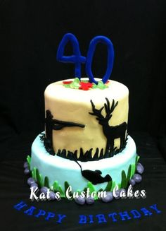 Hunting and Fishing 40th Birthday Cake