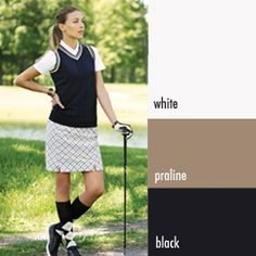 The AUR Golf 'Sweet Praline' Collection features a modern blend of praline, black and white in bold geometric prints and classic plaids. | #golf4her