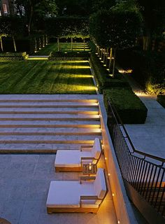 Garden lighting, soft and hard surfaces.