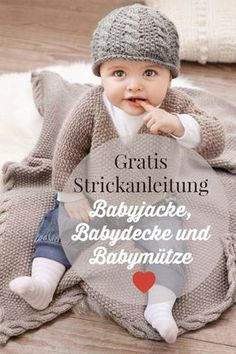Knit a baby jacket, hat and blanket - Today there are three free knitting instructions, namely for a lovely baby blanket, a baby hat and - Baby Knitting Patterns, Knitting Blogs, Baby Patterns, Free Knitting, Blanket Patterns, Knitted Baby Blankets, Baby Blanket Crochet, Crochet Baby, Baby Vest