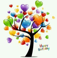 Happy birthday tree hearts