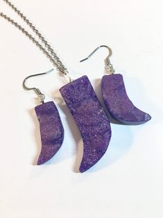 Purple Resin Druzy Necklace and Earring Set Purple Druzy   Etsy