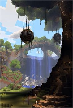 Beautiful Minecraft creation - this gave me an idea of a hanging house that look. Beautiful Minecraft creation – this gave me an idea of a hanging house that looks like this (but Cute Minecraft Houses, Minecraft Plans, Minecraft House Designs, Minecraft Blueprints, Minecraft Art, Minecraft Crafts, Minecraft Jungle House, Minecraft Stuff, Minecraft Bedroom
