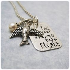 Message Jewelry - Hand Stamped Necklace - Sterling Silver - Quote Pendant with Bird Charm. $54.00, via Etsy.