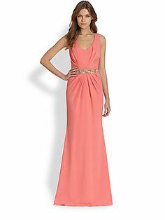 Badgley Mischka Pleated Beaded-Waist Gown  orig=890; now=267