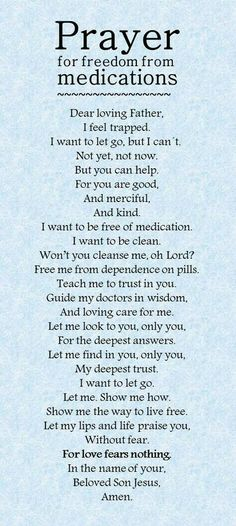 Prayer for being free from medication