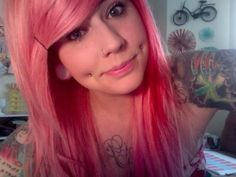 PINK Hair; Dimple Piercings; Nose Ring; Gauges; Sleeves; Chest Tattoo, Beautiful face.  I want my Jose pierced sooo baddd !
