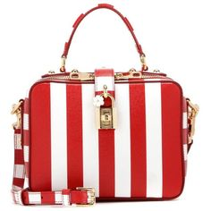 Dolce & Gabbana Rosaria Striped Leather Shoulder Bag (187595 RSD) ❤ liked on Polyvore featuring bags, handbags, shoulder bags, leather purse, white leather handbags, dolce gabbana handbag, genuine leather purse and real leather handbags