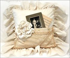 Vintage Pocket Pillow Large Ruffle - 48.95 - This is a handmade pocket pillow with a 6 inch ruffle ~  A vintage cabinet card photo and  piece of sheet music are tucked   in the pocket ~ It measures 18 x 18 inches not including the ruffle ~  The back has an invisible zipper so  the pillow form is removable ~ http://www.katiesrosecottagedesigns.com