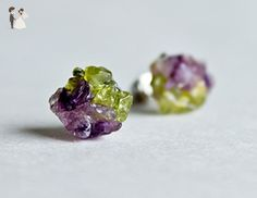 Amethyst Peridot stud earrings green purple earrings - Wedding earings (*Amazon Partner-Link)
