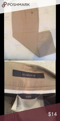 Liz Claiborne Kaki cropped pants Great condition, barely worn. Made by Liz Claiborne, the Audra fit. Size 8P Liz Claiborne Pants Ankle & Cropped