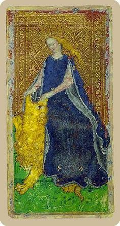 Cary-Yale Visconti Tarot - The Strength,  one of the earliest tarot decks, from Italy, 1450s