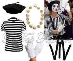 Damen Französisch Pantomime Künstler Kostüm T-Shirt Beret Hosenträger Handschuhe in Kleidung & Accessoires, Kostüme & Verkleidungen, Kostüme | eBay!