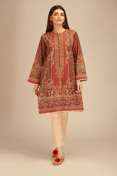 Khaadi Red Winter Collection 2018 Whatsapp: 00923452355358 Website: www. Stylish Dresses For Girls, Stylish Dress Designs, Casual Summer Dresses, Winter Dresses, Formal Outfits, Summer Outfits, Pakistani Fashion Casual, Pakistani Dresses Casual, Pakistani Dress Design