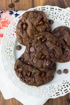 Gluten-Free Triple Chocolate Zucchini Cookies {Dairy-Free} | Meaningful Eats