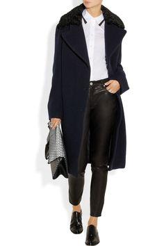 Acne|Era Boiled faux astrakhan-trimmed wool coat|NET-A-PORTER.COM