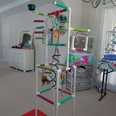THE INDULGER Floor-Version: Fun Play Gym and Play Stand for | Etsy Cockatiel, Budgies, Parrots, Parrot Play Stand, Furniture Grade Pvc, Diy Bird Toys, Bird Stand, Crazy Bird, Play Gym