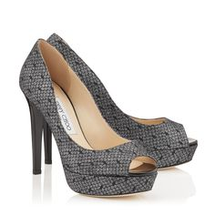 262c83ec3b74d9 Dahlia Peep Toe Platform Pumps in Black Dotted Lace on Anthracite Fine  Glitter and Patent.