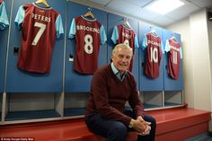 West Ham legend Trevor Brooking takes a seat in the old home dressing room at Upton Park ahead of the final game there Trevor Brooking, West Ham United Fc, Take A Seat, Dressing Room, Olympics, Legends, The Past, Old Things, Take That