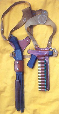 Duel gun holster for pistol and sawed off shotgun Gun Holster, Leather Holster, 1911 Holster, Concealed Carry Holsters, Weapons Guns, Guns And Ammo, Revolver, Fire Powers, Rifles