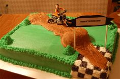 Birthday Cake - 3/4 Sheet : Customer wanted a Dirt Bike Track for Son's 4th Birthday!