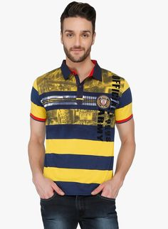 71fe22b6b37 Buy Curve Multi Colored Striped Polo T-Shirt for Men Online India