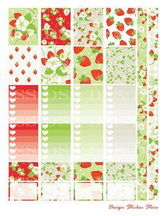 Strawberry Planner Stickers/Erin Condren by DesignStickerStore
