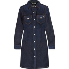 Alexa Chung For AG Jeans Pixie denim mini shirt dress (430 CAD) ❤ liked on Polyvore featuring dresses, dark blue, denim dress, button shirt dress, denim shirt dress, ag adriano goldschmied and long shirt dress