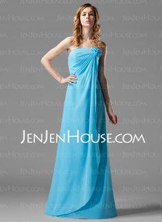 Sheath Strapless Floor-Length Chiffon Bridesmaid Dress With Ruffle Flower(s) (007004157) - JenJenHouse