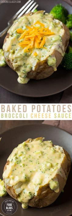 Baked Potatoes Broccoli Cheese Sauce Recipe @FoodBlogs.com