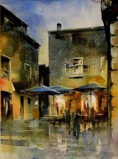 night in peratallada, watercolour, 2009