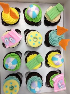 Pool party toppers I made for CocoBeni Confections. Bolos Pool Party, Pool Party Cakes, Pool Cake, Pool Party Themes, Pool Party Kids, Party Ideas, Summer Themed Cupcakes, Beach Theme Cupcakes, Fun Cupcakes